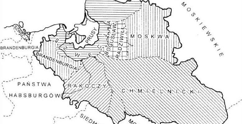 Mapa prezentująca potencjalny rozbiór Polski z Radnot