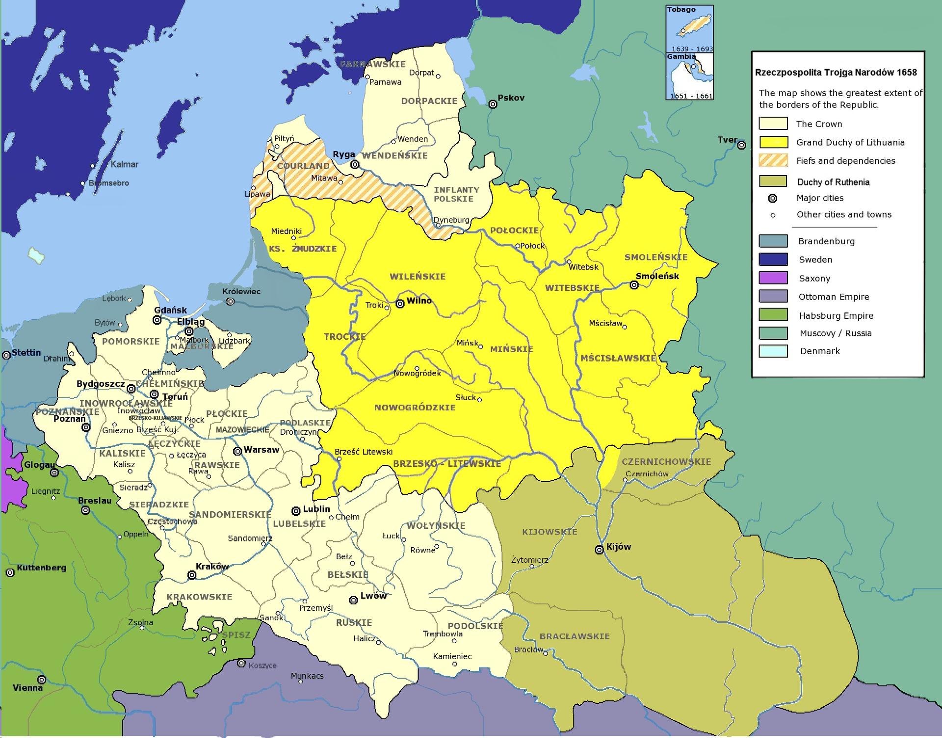 Rzeczpospolita Trojga Narodów według Unii Hadziackiej 1658